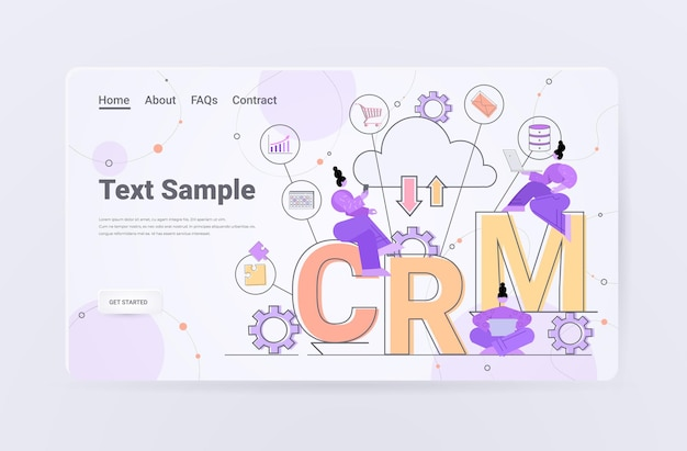 Women using laptops client support crm customer relationship management landing page