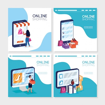 Женщины, использующие покупки онлайн технологий