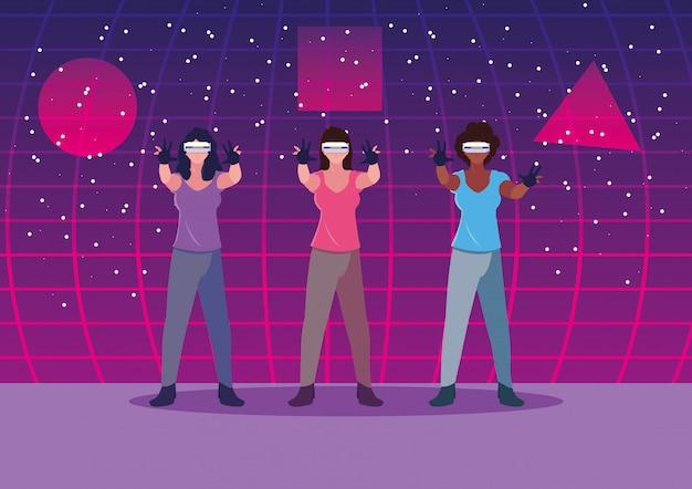 Women using technology of augmented reality