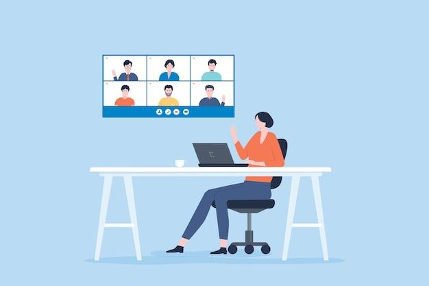Женская команда по видеоконференцсвязи в домашнем офисе за столом