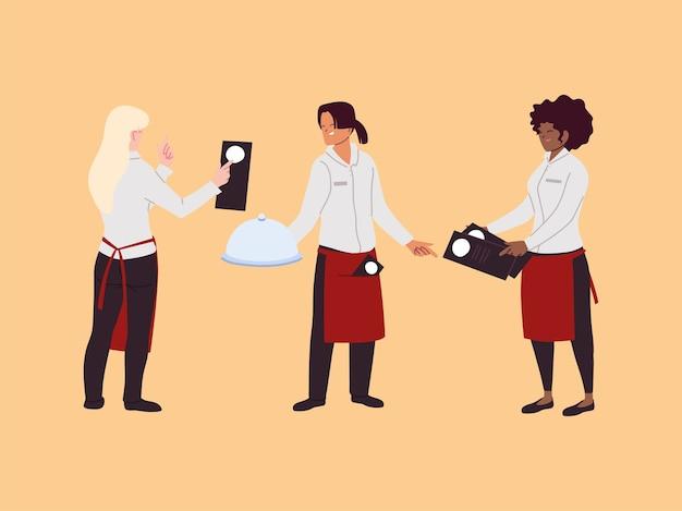 レストランで働く女性ウェイトレス