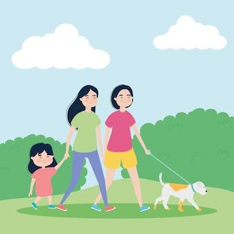 소녀와 강아지와 함께 산책하는 여자