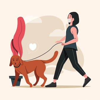Women walking with dog