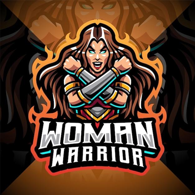 Women warrior esport mascot logo