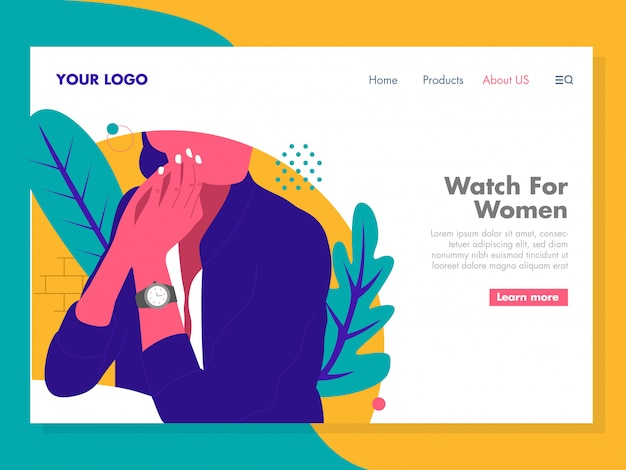 Women watch illustration for landing page