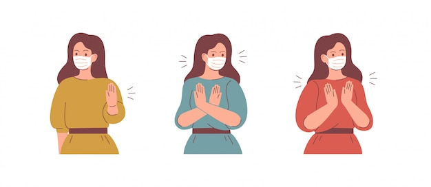 Women wear face masks and say stop with the gesture.