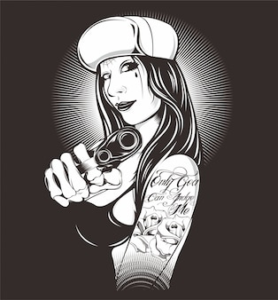 Women wearing hat holding gun