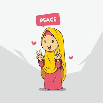 Women wearing hijab cartoon
