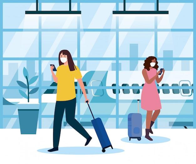 空港ターミナルで医療用防護マスクを着用している女性、コロナウイルスのパンデミック時に飛行機で移動している女性、予防covid 19