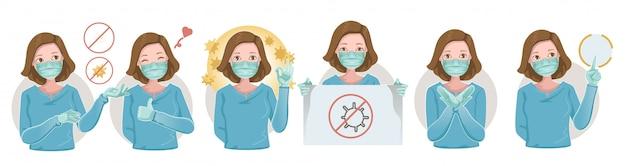 ウイルスを防ぐために医療用保護マスクと保護手袋を着用している女性。医療マスク多くのジェスチャー。