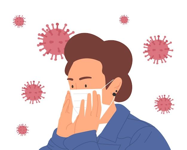 바이러스를 예방하기 위해 보호 의료 마스크를 착용하는 여성. 코로나 바이러스를 중지하십시오. 코로나 바이러스 발생 그림