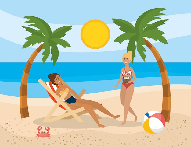 Women wearing swimsuit with ball and palms trees with crab