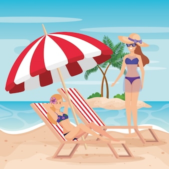 Women wearing swimsuit with tanning chair and umbrella