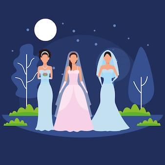Women wearing wedding dress
