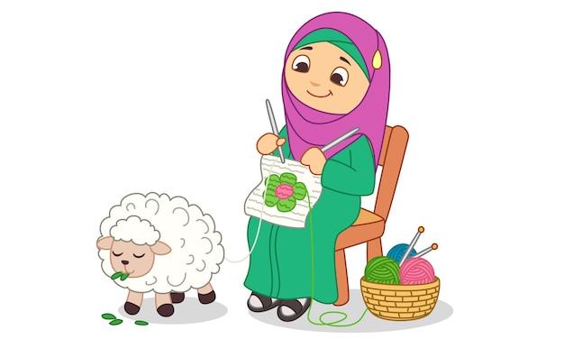 A women weaving