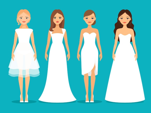 Women in wedding dresses on blue background