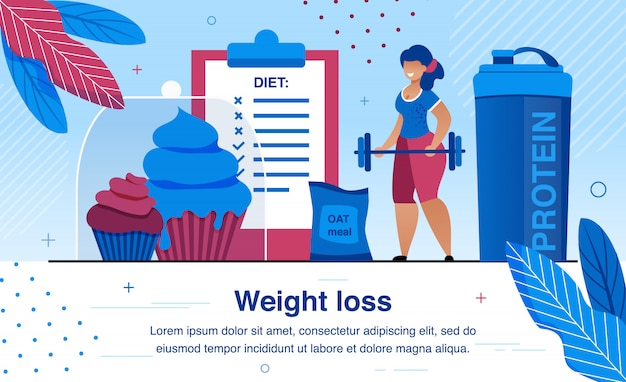 Women weight loss, healthy life flat vector illustration