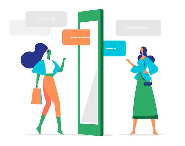 모바일 앱을 통해 조언, 의견을 교환하는 여성