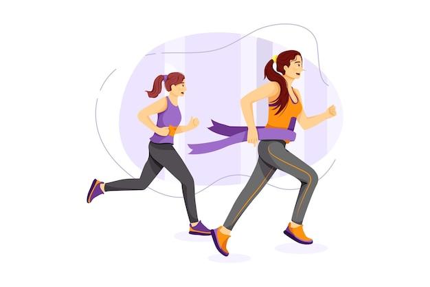Women winning and cross finish line of marathon