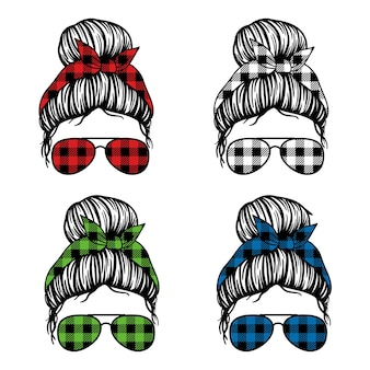 Women with aviator glasses bandana and buffalo plaid print messy bun mom lifestyle