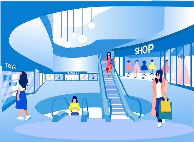 ビッグモールで手をつないで買い物をする女性。