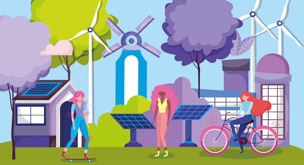 Women with bike and skateboard in renewable energy industries