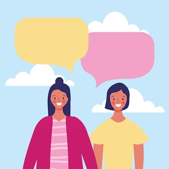 Women with blank speech bubble