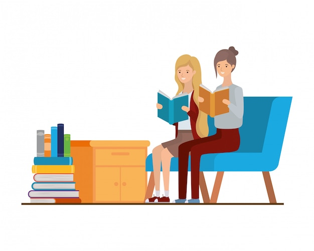 Women with book in hands in living room