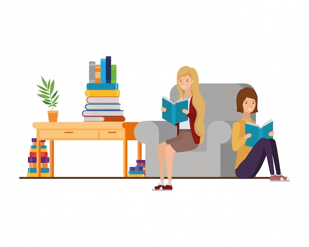Women with book in hands in living room