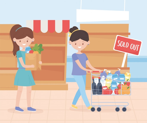 Women with cart and bag food sold out shelves excess purchase