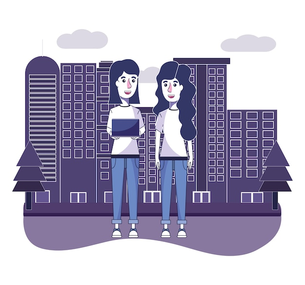 Women with casual clothes and laptop in the cityscape