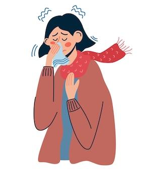風邪やインフルエンザの女性。病気の女性は鼻水が出て、くしゃみをします。病気の人、発熱、風邪やウイルス性疾患、コロナビラの概念。白い背景で隔離のベクトルイラスト。