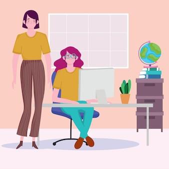 デスクワークスペースでコンピューターを持っている女性、イラストを働く人々