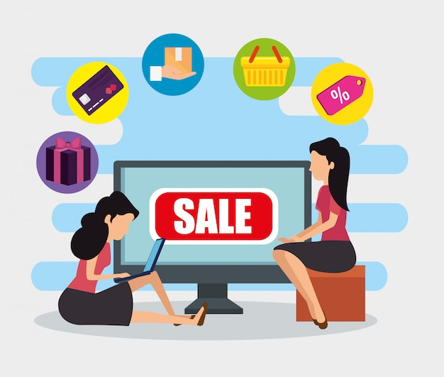 Women with computer ecommerce technology to sale