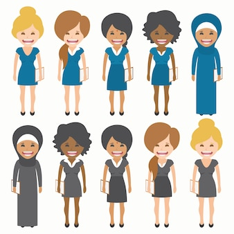 Women with different dresses collection