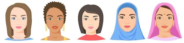 異なる民族の人種と外観を持つ女性白黒アジアのアラブインドの女性の顔