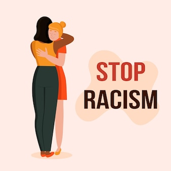 Women with different skin colors hug the concept of anti racism unity of different races