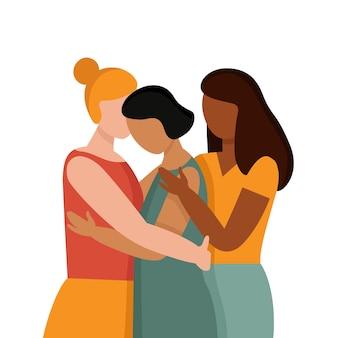 피부색이 다른 여성들은 인종차별 반대 개념을 껴안고 서로 다른 인종의 화합