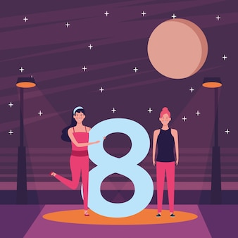 Women with eight