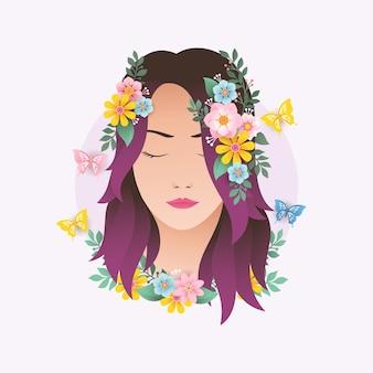 花の装飾デザインベクトル図を持つ女性