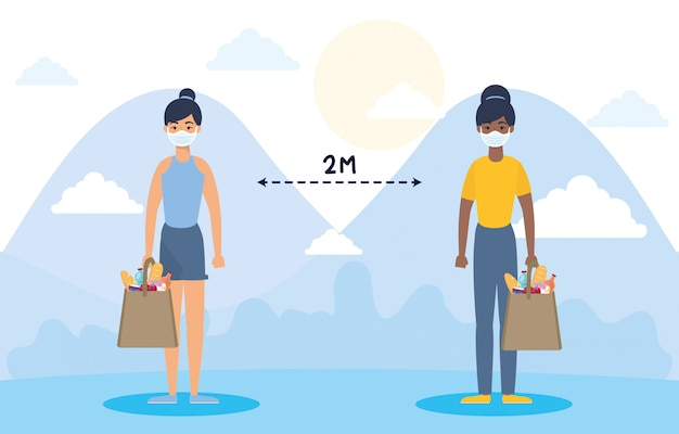 Женщины с продуктовой сумкой и социальным дистанцированием для covid19