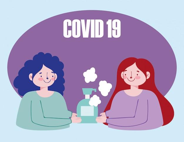 Женщины с руками дезинфицирующее средство гель мультфильм, cvid 19 коронавирусной профилактики пандемии