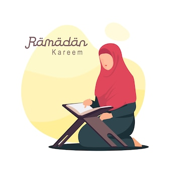 Women with hijab reading quran vector illustration