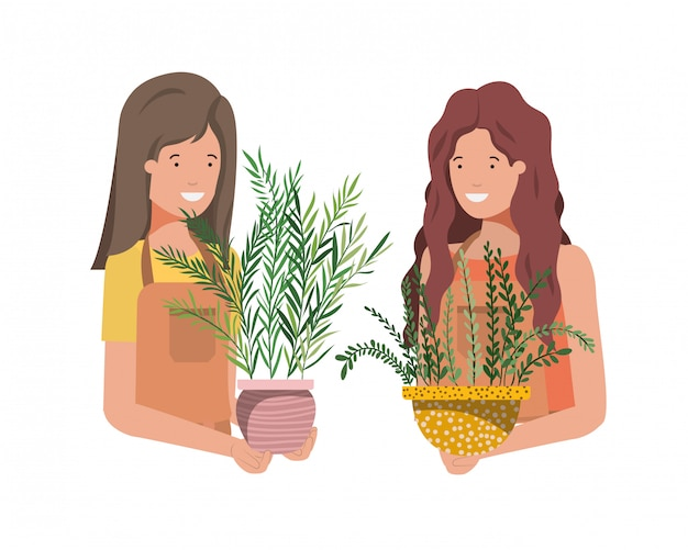 Women with houseplant avatar character