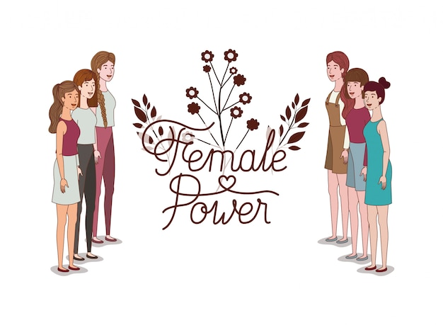 Women with label female power avatar character
