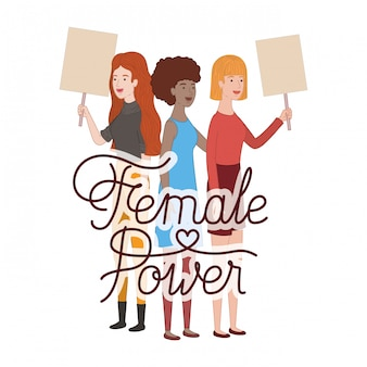 Women with label female power character