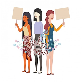 Women with label girl power character