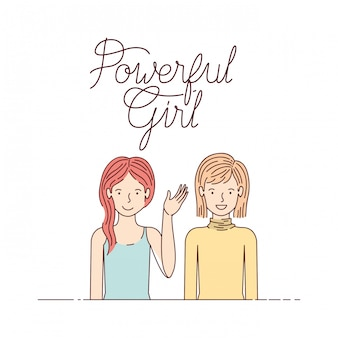 Women with label powerful girl avatar character