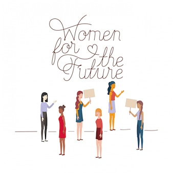 Women with label women for the future character