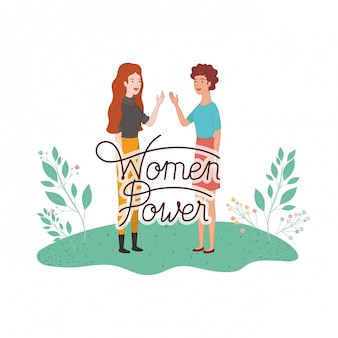 Women with label women power avatar character